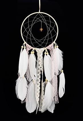 www.snowfall-beads.fr - Pendentif capteur de rêves ronde avec plumes 52x15cm