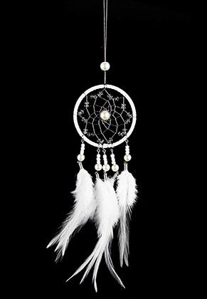 www.snowfall-beads.es - Colgante atrapasueños redondo con plumas 32x6,5cm