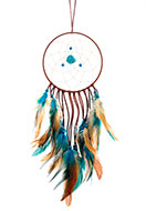 www.snowfall-beads.com - Pendant dreamcatcher round with feathers 55x15cm - J06633