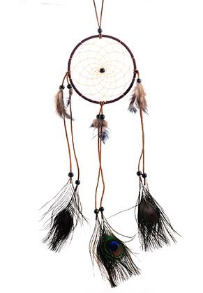 www.snowfall-beads.es - Colgante atrapasueños redondo con plumas 56x15cm