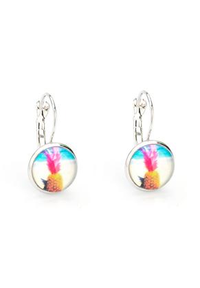 www.snowfall-beads.nl - Metalen klap oorbellen met ananas 26x14mm