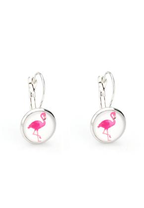 www.snowfall-fashion.nl - Metalen klap oorbel met flamingo 26x14mm
