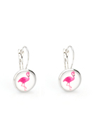 www.snowfall-fashion.co.uk - Metal snap earring with flamingo 26x14mm - J06800