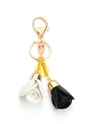 www.snowfall-fashion.fr - Porte-clés avec roses en cuir artificiel 15x6cm