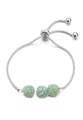 www.snowfall-beads.be - Roestvrijstalen armband met natuursteen lavasteen/Pelelith