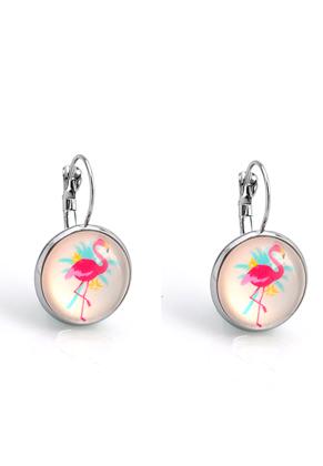 www.snowfall-beads.nl - Metalen klap oorbellen met flamingo print 30x18mm