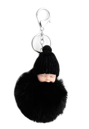 www.snowfall-perles.be - Porte-clés avec boule de peluche bébé
