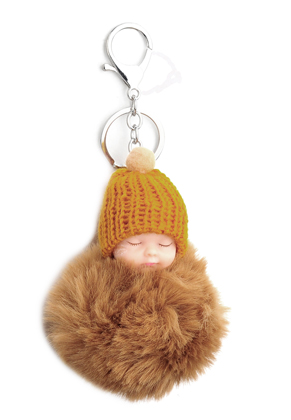 www.snowfall-beads.com - Key fob with fluff ball baby