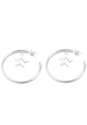 www.snowfall-beads.com - Open hoop earrings with star 45x2mm