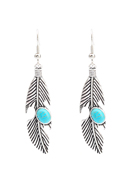 www.snowfall-fashion.co.uk - Earrings feather with natural stone Turquoise Howlite - J07082