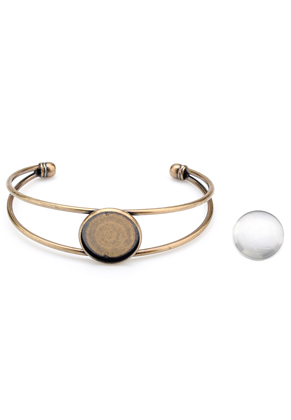 www.snowfall-beads.de - Metall Stulpe-Armband mit Fassung und 20mm Cabochon