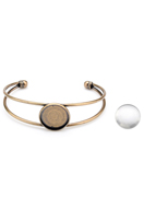 www.snowfall-beads.com - Metal cuff bracelet with setting and 20mm cabochon - J07097