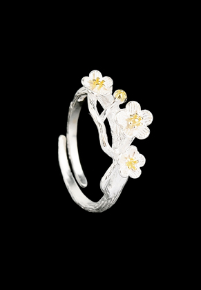 www.snowfall-beads.com - Metal ring with flowers >= Ø 16mm
