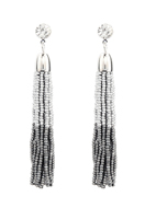 www.snowfall-fashion.com - Ear studs with tassel of seed beads 80x9mm - J07226