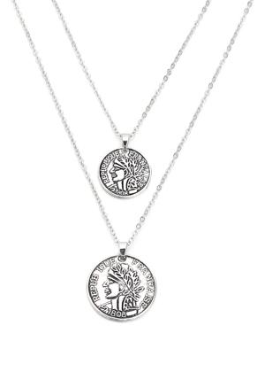 www.snowfall-mode.be - Collier multi rangs avec des pièces de monnaie 45-50cm