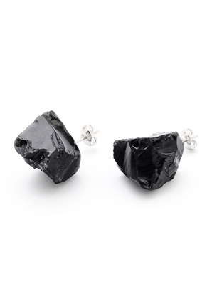 www.snowfall-fashion.nl - Natuursteen oorstekers Black stone 20-30x13-20mm