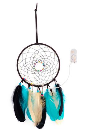 www.snowfall-mode.be - Pendentif capteur de rêves avec plumes et lumières LED 44x16cm
