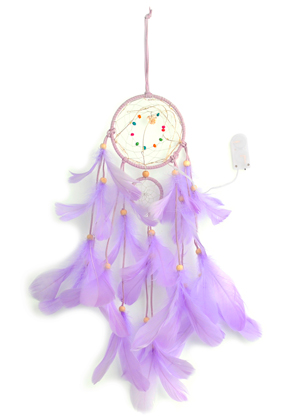 www.snowfall-beads.com - Pendant dreamcatcher with feathers and LED lights 55x11cm