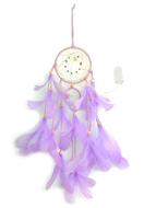 www.snowfall-beads.nl - Hanger dromenvanger met veren en LED lampjes 55x11cm - J07308