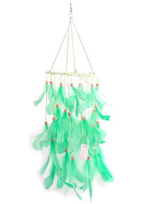 www.snowfall-beads.es - Colgante atrapasueños con plumas y lámparas LED 65x16cm