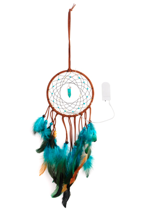 www.snowfall-beads.com - Pendant dreamcatcher with feathers and LED lights 55x13,5cm