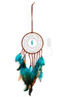 www.snowfall-beads.nl - Hanger dromenvanger met veren en LED lampjes 55x13,5cm - J07314
