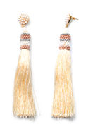 www.snowfall-beads.co.uk - Ear studs with tassel and seed beads 10x1cm - J07320
