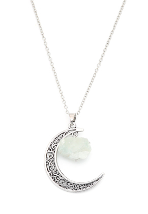 www.snowfall-fashion.fr - Collier avec lune et pierre naturelle Green Fluorite 60-65cm