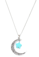 www.snowfall-beads.com - Necklace with moon and star natural stone Turquoise Howlite 60-65cm - J07356
