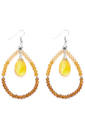 www.snowfall-beads.com - Earrings with glass drop and ebads 75x45mm