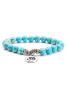 www.snowfall-beads.com - Natural stone bracelet Imperial Jasper with Ohm sign 17cm - J07396