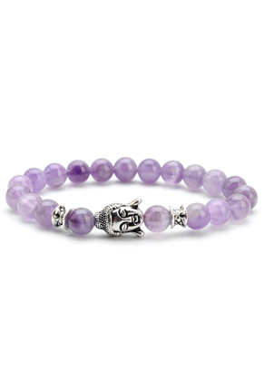 www.snowfall-beads.com - Natural stone bracelet Amethyst with Buddha 18cm