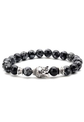 www.snowfall-beads.com - Natural stone bracelet Snowflake Obsidian with Buddha 18cm