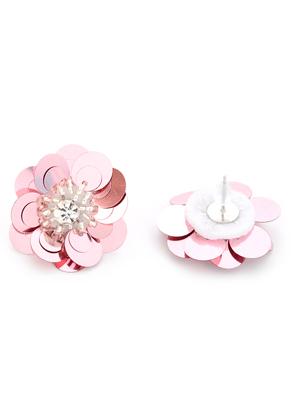 www.snowfall-beads.com - Ear studs with flower 35x25mm