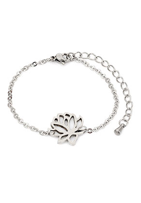 www.snowfall-beads.com - Stainless steel bracelet with lotus 17-20cm