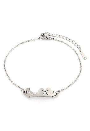 www.snowfall-beads.be - Roestvrijstalen armband met vogels op een tak 17-20cm