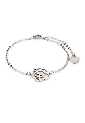 www.snowfall-beads.fr - Bracelet en acier inoxydable avec rose 17-22cm