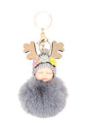 www.snowfall-beads.com - Key fob with fluff ball baby - J07544