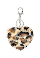 www.snowfall-beads.be - Sleutelhanger hartje met panterprint - J07561