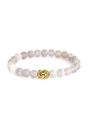 www.snowfall-beads.fr - Bracelet en pierre naturelle Agate crackle avec Bouddha 19cm