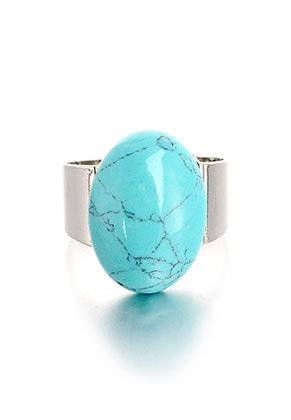 www.snowfall-beads.com - Ring with natural stone Turquoise Howlite >= Ø 18mm