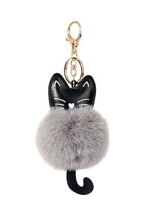 www.snowfall-beads.de - Schlüsselanhänger mit Flusenkugel Katze