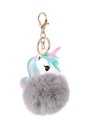 www.snowfall-beads.com - Key fob with fluff ball unicorn