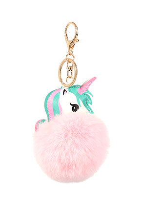 www.snowfall-beads.com - Key fob with fluff ball unicorn