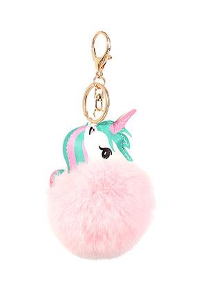 www.snowfall-beads.fr - Porte-clés avec boule de peluche licorne