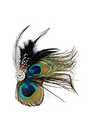 www.snowfall-beads.com - Brooch/hairpin with peacock feathers 13x12cm - J07671