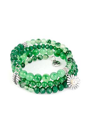 www.snowfall-beads.de - Avilana memory wire Wickelarmband mit Agate Perlen 19cm