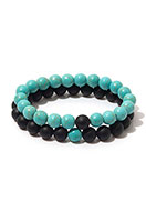 www.snowfall-fashion.co.uk - Set of natural stone distance bracelets Agate/Turquoise Howlite 19cm - J07769