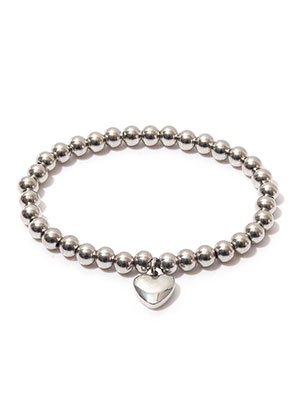 www.snowfall-beads.com - Stainless steel bracelet with heart, stretchable 19cm