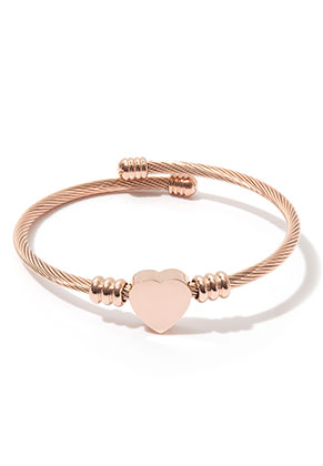 www.snowfall-beads.fr - Bracelet bangle ouvert en acier inoxydable avec coeur 20cm